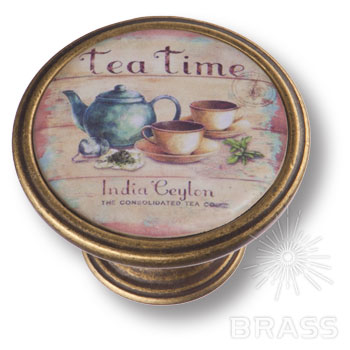550BR64 Ручка кнопка  - TEA TIME,  старая бронза
