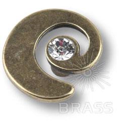 1032.0040.002 Ручка кнопка с кристаллом Swarovski эксклюзивная коллекция, старая бронза