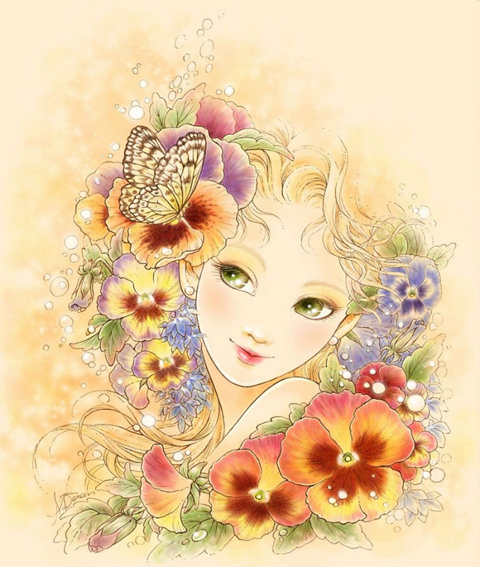 Открытки девушка в цветах