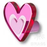 666MGX Ручка-кнопка в форме сердца, цвет малиновый