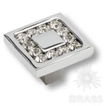 0771-005-2 Ручка кнопка с кристаллами Swarovski эксклюзивная коллекция, глянцевый хром