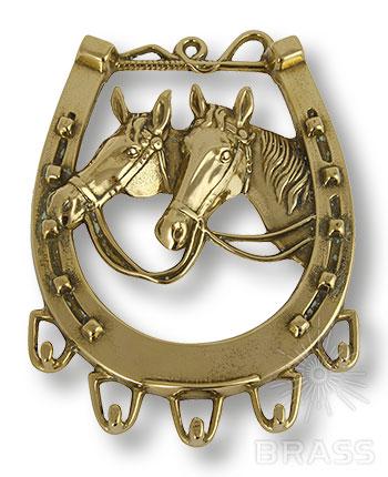00069 Настенная ключница Лошадь, латунь