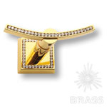 3506-2-75-030 Крючок однорожковый с кристаллами Swarovski, глянцевое золото 24 карата